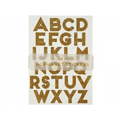 Alphabet Sticker Gold Glitter