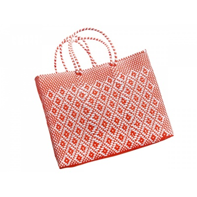 Handtasche Oaxaca L / orange-white
