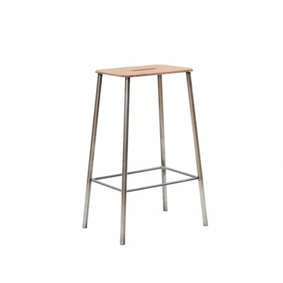 ADAM Stool / Leather & Raw Steel